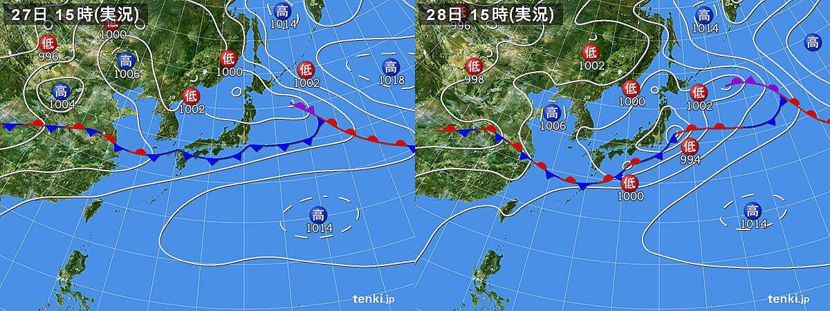 6月27日と28日の地上天気図(いずれも15:00)