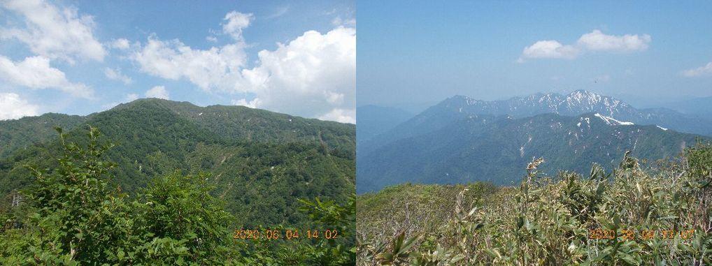 未丈ヶ岳(左)と毛猛山塊