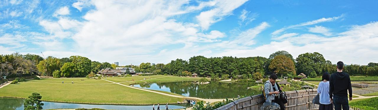 20191017 後楽園今日の唯心山頂上から眺めた三枚構成の園内ワイド風景 (1)