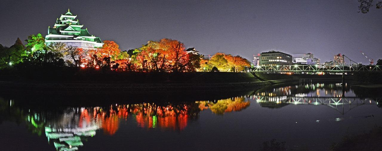 20191116 秋の烏城灯源郷水辺の回廊のワイド風景 (1)