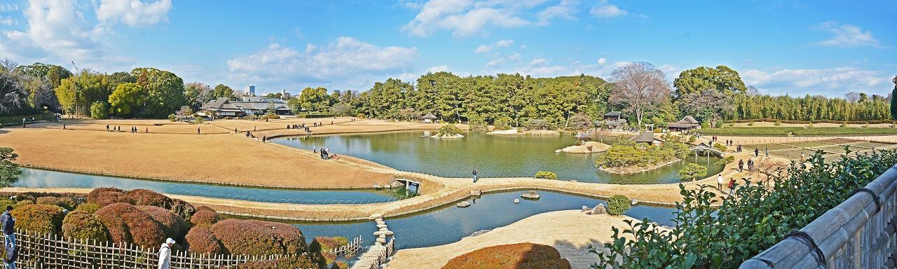 20200102 後楽園今日の唯心山頂上から眺めた園内ワイド風景 (1)