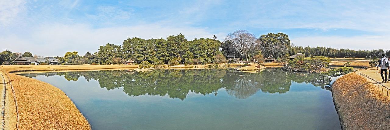 20200116 後楽園今日の中央散策路から沢の池越しに眺めた園内ワイド風景 (1)