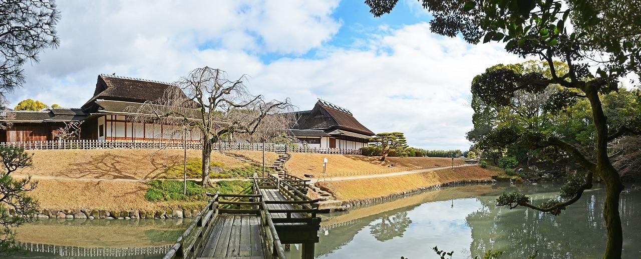 20200129 後楽園今日の花葉の池の二色が岡側から眺めた園内ワイド風景 (1)