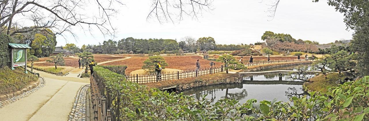20200215 後楽園今日の午後の南門を入って直ぐの場所から眺めた園内ワイド風景 (1)