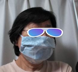 3/2 柄のキッチンダスターで作ったマスク着用