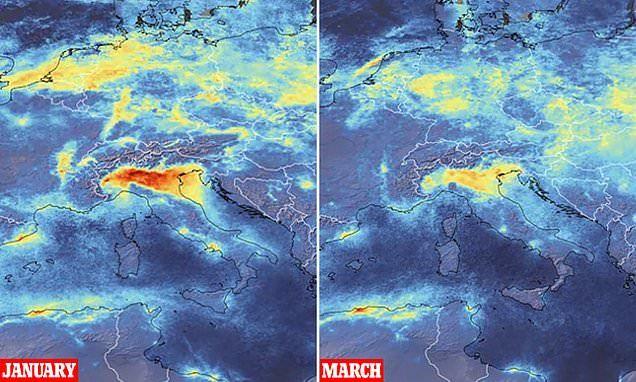 コロナウイルスでイタリアの大気汚染改善