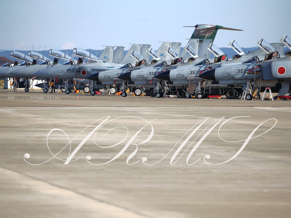 ずらりと並んだ岐阜基地のF-4とF-15