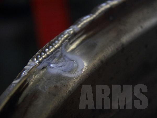 開先処理をしてアルミ溶接する
