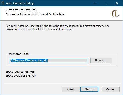 PC ゲーム Arx Fatalis 日本語化とゲームプレイ最適化メモ、オープンソース Arx Libertatis インストール、インストーラー版 Arx Libertatis 導入方法、Arx Libertatis Setup 画面の Choose Install Location 画面で任意の場所に Arx Libertatis をインストール