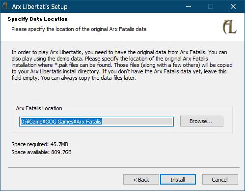 PC ゲーム Arx Fatalis 日本語化とゲームプレイ最適化メモ、オープンソース Arx Libertatis インストール、インストーラー版 Arx Libertatis 導入方法、Arx Libertatis Setup 画面の Specify Data Location 画面でインストール済み Arx Fatalis フォルダを自動的に指定(画像は GOG 版 Arx Fatalis の場合)