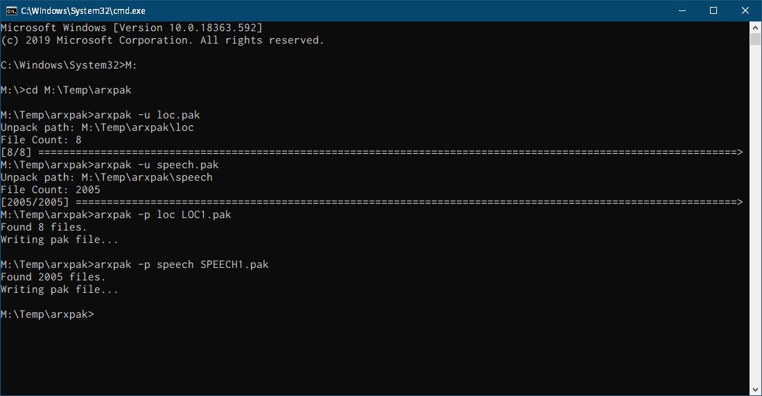 PC ゲーム Arx Fatalis 日本語化とゲームプレイ最適化メモ、Arx Fatalis 用ツール情報、Arx Fatalis pck File tool、arxpak.exe コマンドラインで loc.pak と speech.pak をパック