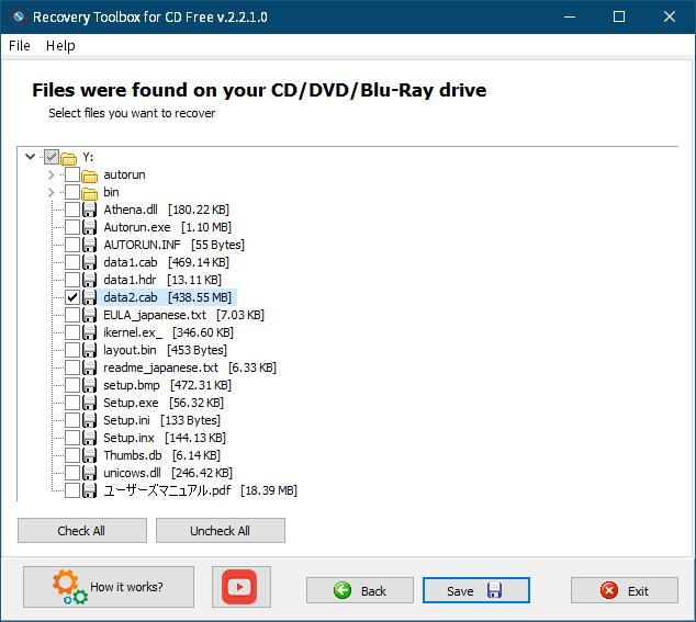 PC ゲーム Arx Fatalis 日本語化とゲームプレイ最適化メモ、Arx Fatalis 日本語版ディスクから日本語音声・字幕データをコピー・抽出、Recovery Toolbox for CD Free v.2.2.1.0 を使って Arx Fatalis 日本語版ディスクからファイルコピー、コピーするファイルを指定(画像はコピーできなかった data2.cab ファイルを選択した状態)