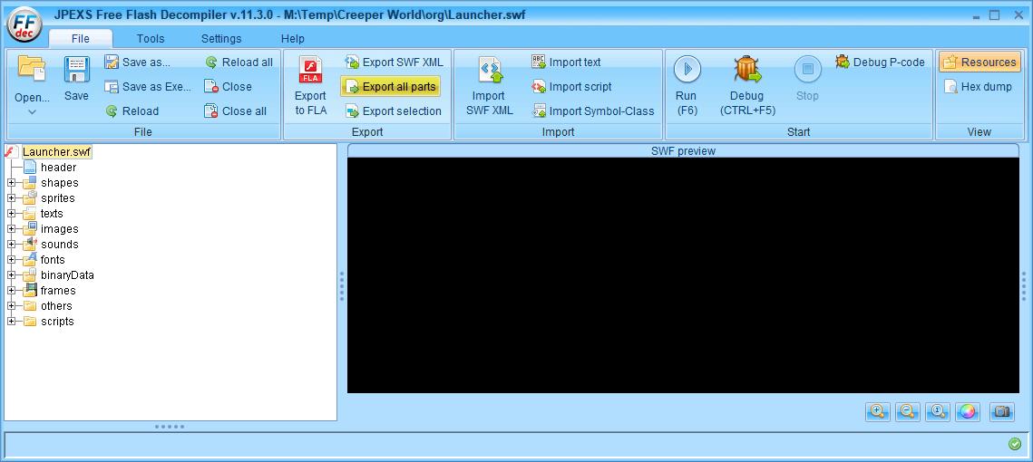 PC ゲーム Creeper World: Anniversary Edition 日本語化と JPEXS Free Flash Decompiler を使ったファイル解析メモ、デコンパイラ JPEXS Free Flash Decompiler(FFDec) 基本機能・初期設定・使い方、swf ファイル - エクスポート方法、FFDec で swf ファイルを開いている状態で File タブにある Export all parts ボタンをクリック