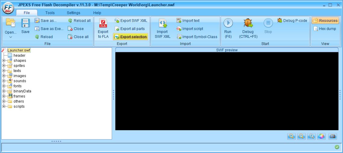 PC ゲーム Creeper World: Anniversary Edition 日本語化と JPEXS Free Flash Decompiler を使ったファイル解析メモ、デコンパイラ JPEXS Free Flash Decompiler(FFDec) 基本機能・初期設定・使い方、swf ファイル - エクスポート方法、FFDec で swf ファイルを開いている状態で、フォルダツリーに表示されている swf ファイルを選択した状態で File タブにある Export all parts ボタンをクリック