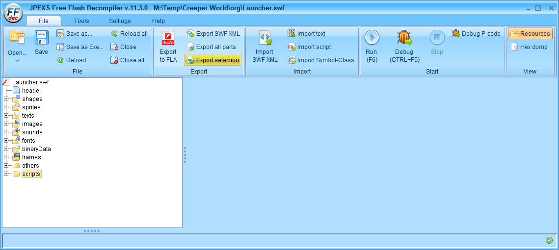 PC ゲーム Creeper World: Anniversary Edition 日本語化と JPEXS Free Flash Decompiler を使ったファイル解析メモ、デコンパイラ JPEXS Free Flash Decompiler(FFDec) 基本機能・初期設定・使い方、swf ファイル - エクスポート方法、FFDec で swf ファイルを開いている状態で、フォルダツリーに表示されているカテゴリフォルダを選択した状態で File タブにある Export selection ボタンをクリック