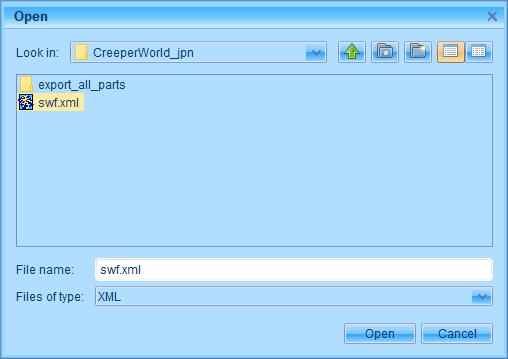 PC ゲーム Creeper World: Anniversary Edition 日本語化と JPEXS Free Flash Decompiler を使ったファイル解析メモ、デコンパイラ JPEXS Free Flash Decompiler(FFDec) を使った Creeper World: Anniversary Edition 日本語化方法、FFDec の SWF XML エクスポート・インポートを使った英語版 Creeper World: Anniversary Edition 日本語化方法、PC ゲーム Creeper World: Anniversary Edition 日本語化と JPEXS Free Flash Decompiler を使ったファイル解析メモ、デコンパイラ JPEXS Free Flash Decompiler(FFDec) を使った Creeper World: Anniversary Edition 日本語化方法、FFDec の SWF XML エクスポート・インポートを使った英語版 Creeper World: Anniversary Edition 日本語化方法、FFDec で英語版 Launcher.swf ファイルを開き File タブにある Import SWF XML ボタンをクリックして、エクスポートした swf.xml ファイルをインポート