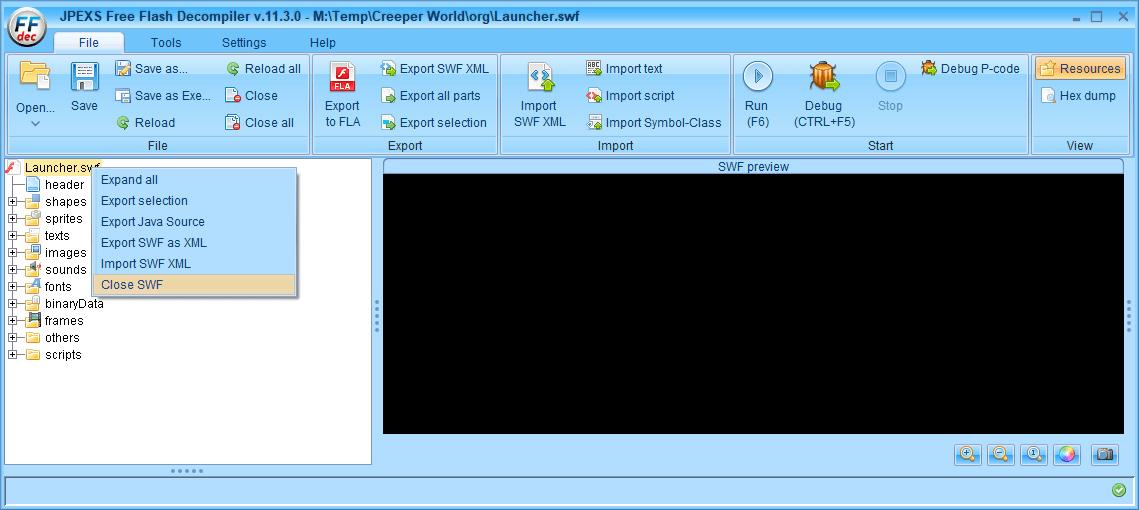 PC ゲーム Creeper World: Anniversary Edition 日本語化と JPEXS Free Flash Decompiler を使ったファイル解析メモ、デコンパイラ JPEXS Free Flash Decompiler(FFDec) 基本機能・初期設定・使い方、swf ファイルの開き方と閉じ方、FFDec で開いた swf ファイルは FFDec を閉じても次回開いたときに前回開いた swf ファイルを開くようになっている、swf ファイルを閉じるにはフォルダツリーに表示されている swf を右クリックして Close SWF をクリックすることで swf ファイルを閉じる