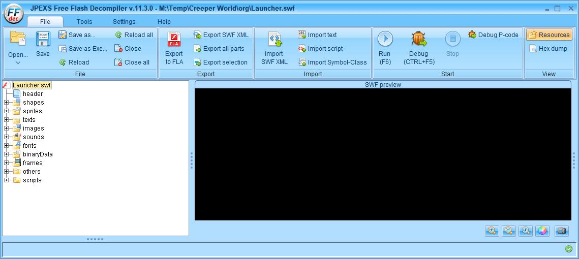 PC ゲーム Creeper World: Anniversary Edition 日本語化と JPEXS Free Flash Decompiler を使ったファイル解析メモ、デコンパイラ JPEXS Free Flash Decompiler(FFDec) 基本機能・初期設定・使い方、swf ファイルの開き方と閉じ方、swf ファイル の開き方は FFDec に swf ファイルをドラッグアンドドロップするか、File タブにある Open ボタンから開く