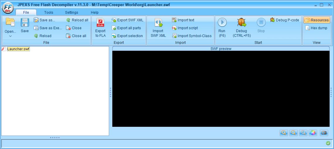 PC ゲーム Creeper World: Anniversary Edition 日本語化と JPEXS Free Flash Decompiler を使ったファイル解析メモ、デコンパイラ JPEXS Free Flash Decompiler(FFDec) 基本機能・初期設定・使い方、swf ファイルの開き方と閉じ方、開いた swf ファイルのフォルダツリーが非表示(折りたたみ状態)になってしまった場合は、フォルダツリーにある swf ファイルをダブルクリックすることで再表示(折りたたみ解除)、フォルダツリーの swf ファイルをダブルクリックすることで折りたたみと折りたたみ解除に切り替え
