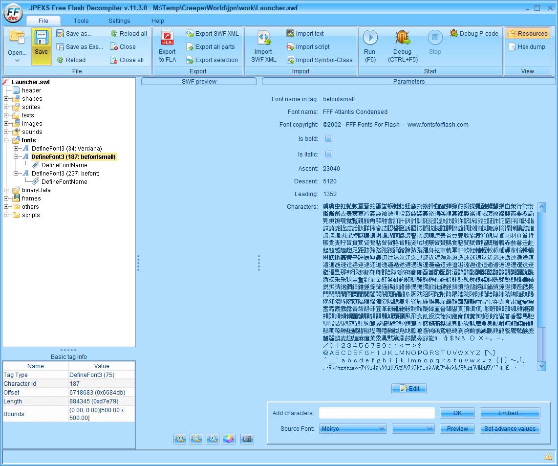 PC ゲーム Creeper World: Anniversary Edition 日本語化と JPEXS Free Flash Decompiler を使ったファイル解析メモ、PC ゲーム Creeper World: Anniversary Edition 日本語化情報、Creeper World: Anniversary Edition 日本語フォント変更方法、FFDec で日本語化済み Launcher.swf を開き、フォルダツリー fonts フォルダにある DefineFont3 (187: befontsmall) の Characters に登録されている日本語フォント変更、Embed ボタンをクリック、Font embedding 画面で TTF file をクリック、変更したい ttf フォントファイルを開く(ここではなつめもじフォント選択)、Japanese Kana と Japanese Kanji - Level 1 にチェックマーク、DefineFont3 (187: befontsmall) の日本語フォント変更完了、File タブから Save ボタンで保存