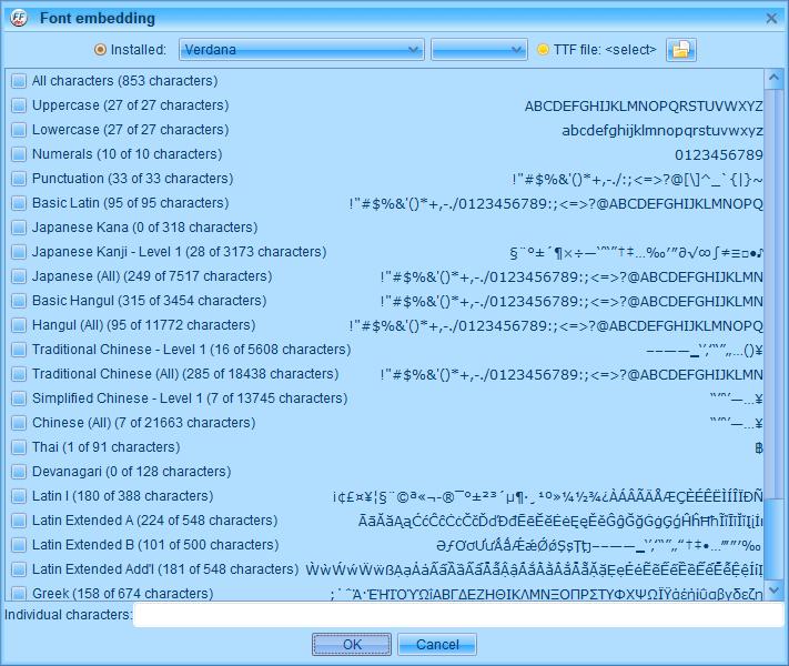 PC ゲーム Creeper World: Anniversary Edition 日本語化と JPEXS Free Flash Decompiler を使ったファイル解析メモ、PC ゲーム Creeper World: Anniversary Edition 日本語化情報、Creeper World: Anniversary Edition 日本語フォント変更方法、FFDec で日本語化済み Launcher.swf を開き、フォルダツリー fonts フォルダにある DefineFont3 (187: befontsmall) の Characters に登録されている日本語フォント変更、Embed ボタンをクリック、Font embedding 画面で TTF file をクリック