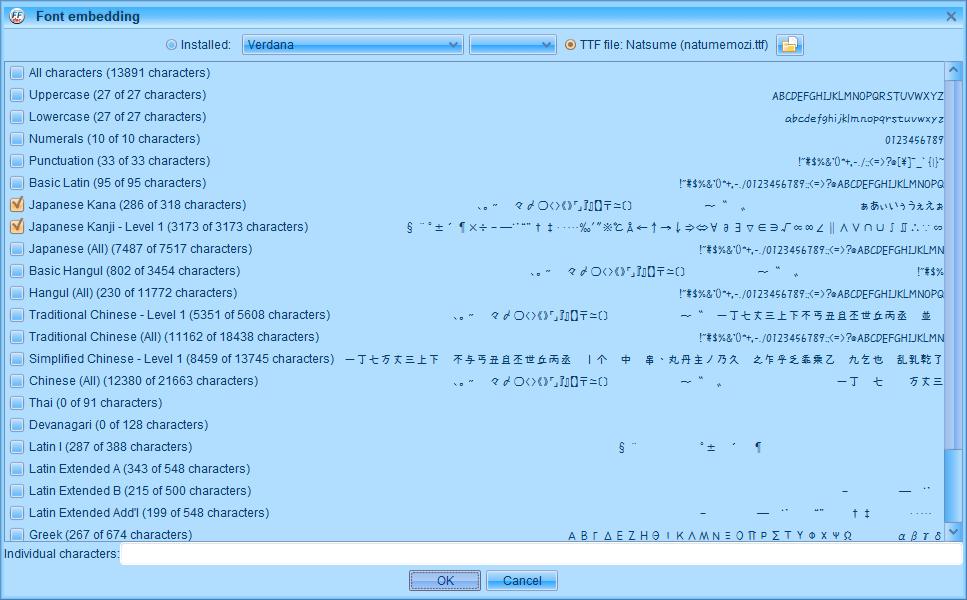 PC ゲーム Creeper World: Anniversary Edition 日本語化と JPEXS Free Flash Decompiler を使ったファイル解析メモ、PC ゲーム Creeper World: Anniversary Edition 日本語化情報、Creeper World: Anniversary Edition 日本語フォント変更方法、FFDec で日本語化済み Launcher.swf を開き、フォルダツリー fonts フォルダにある DefineFont3 (187: befontsmall) の Characters に登録されている日本語フォント変更、Embed ボタンをクリック、Font embedding 画面で TTF file をクリック、変更したい ttf フォントファイルを開く(ここではなつめもじフォント選択)、Japanese Kana と Japanese Kanji - Level 1 にチェックマーク