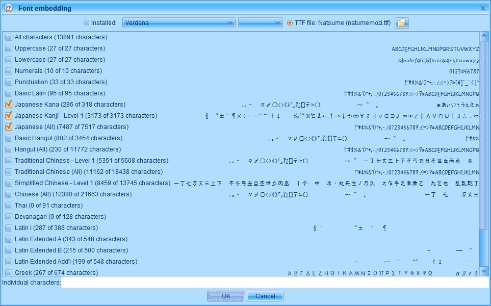 PC ゲーム Creeper World: Anniversary Edition 日本語化と JPEXS Free Flash Decompiler を使ったファイル解析メモ、PC ゲーム Creeper World: Anniversary Edition 日本語化情報、Creeper World: Anniversary Edition 日本語フォント変更方法、FFDec で日本語化済み Launcher.swf を開き、フォルダツリー fonts フォルダにある DefineFont3 (237: befont) の Characters に登録されている日本語フォント変更、Embed ボタンをクリック、Font embedding 画面で TTF file をクリック、変更したい ttf フォントファイルを開く(ここではなつめもじフォント選択)、Japanese Kana と Japanese Kanji - Level 1 と Japanese (All) にチェックマーク