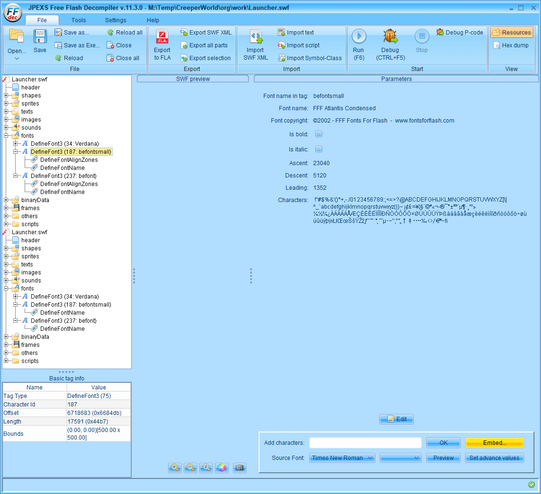 PC ゲーム Creeper World: Anniversary Edition 日本語化と JPEXS Free Flash Decompiler を使ったファイル解析メモ、デコンパイラ JPEXS Free Flash Decompiler(FFDec) を使った Creeper World: Anniversary Edition 日本語化方法、英語版 Creeper World: Anniversary Edition 日本語フォント追加方法、FFDec で英語版 Launcher.swf を開き、フォルダツリー fonts フォルダにある DefineFont3 (187: befontsmall) の Characters に日本語フォントを追加、Embed ボタンをクリック