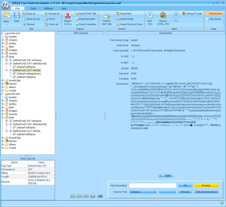PC ゲーム Creeper World: Anniversary Edition 日本語化と JPEXS Free Flash Decompiler を使ったファイル解析メモ、デコンパイラ JPEXS Free Flash Decompiler(FFDec) を使った Creeper World: Anniversary Edition 日本語化方法、英語版 Creeper World: Anniversary Edition 日本語フォント追加方法、FFDec で英語版 Launcher.swf を開き、フォルダツリー fonts フォルダにある DefineFont3 (237: befont) の Characters に日本語フォントを追加、Embed ボタンをクリック
