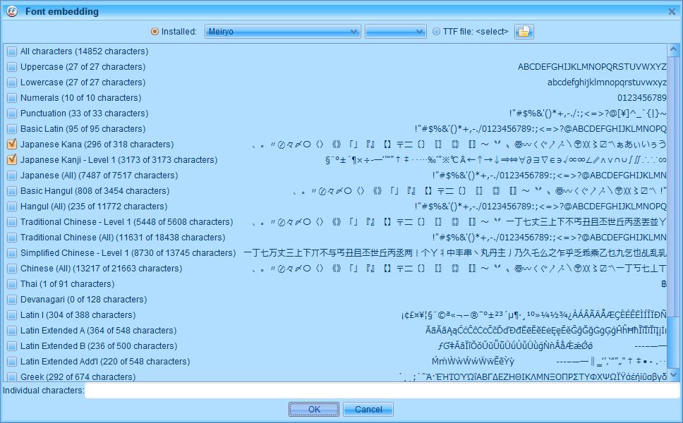 PC ゲーム Creeper World: Anniversary Edition 日本語化と JPEXS Free Flash Decompiler を使ったファイル解析メモ、デコンパイラ JPEXS Free Flash Decompiler(FFDec) を使った Creeper World: Anniversary Edition 日本語化方法、英語版 Creeper World: Anniversary Edition 日本語フォント追加方法、FFDec で英語版 Launcher.swf を開き、フォルダツリー fonts フォルダにある DefineFont3 (187: befontsmall) の Characters に日本語フォントを追加、Embed ボタンをクリック、Font embedding 画面で日本語フォントを選択(ここでは Meiryo フォントを選択)、Japanese Kana と Japanese Kanji - Level 1 にチェックマーク