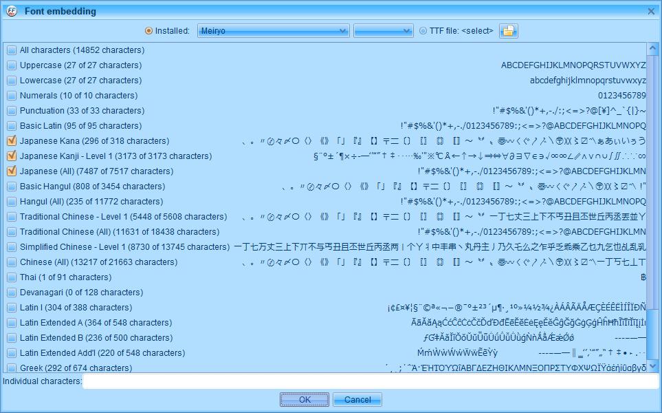 PC ゲーム Creeper World: Anniversary Edition 日本語化と JPEXS Free Flash Decompiler を使ったファイル解析メモ、デコンパイラ JPEXS Free Flash Decompiler(FFDec) を使った Creeper World: Anniversary Edition 日本語化方法、英語版 Creeper World: Anniversary Edition 日本語フォント追加方法、FFDec で英語版 Launcher.swf を開き、フォルダツリー fonts フォルダにある DefineFont3 (237: befont) の Characters に日本語フォントを追加、Embed ボタンをクリック、Font embedding 画面で日本語フォントを選択(ここでは Meiryo フォントを選択)、Japanese Kana と Japanese Kanji - Level 1 と Japanese (All) にチェックマーク