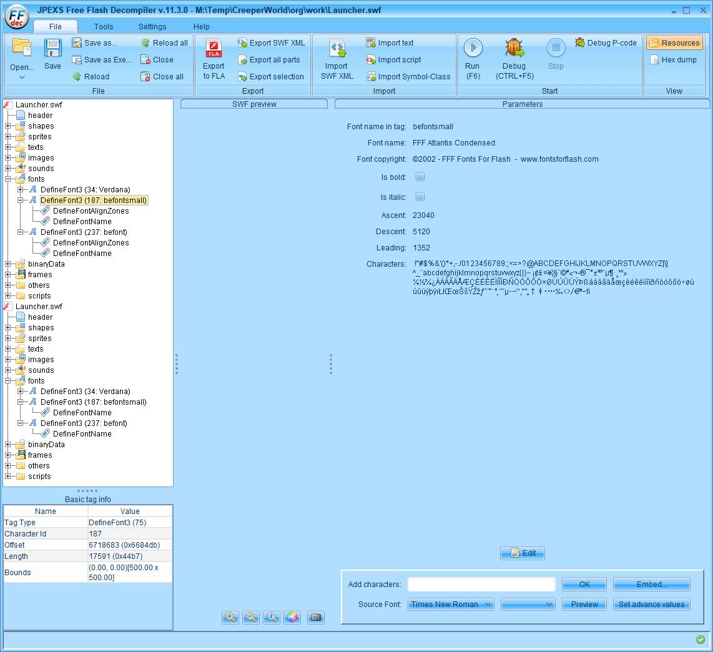 PC ゲーム Creeper World: Anniversary Edition 日本語化と JPEXS Free Flash Decompiler を使ったファイル解析メモ、デコンパイラ JPEXS Free Flash Decompiler(FFDec) を使った Creeper World: Anniversary Edition 日本語化方法、英語版 Creeper World: Anniversary Edition 日本語フォント追加方法、FFDec で英語版 Launcher.swf を開き、フォルダツリー fonts フォルダにある DefineFont3 (187: befontsmall) の Characters 内容