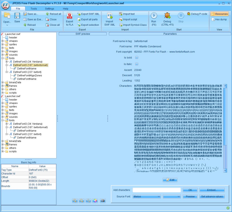 PC ゲーム Creeper World: Anniversary Edition 日本語化と JPEXS Free Flash Decompiler を使ったファイル解析メモ、デコンパイラ JPEXS Free Flash Decompiler(FFDec) を使った Creeper World: Anniversary Edition 日本語化方法、英語版 Creeper World: Anniversary Edition 日本語フォント追加方法、FFDec で英語版 Launcher.swf を開き、フォルダツリー fonts フォルダにある DefineFont3 (187: befontsmall) の Characters に日本語フォント Meiryo を追加したところ、Save 後 DefineFont3 (187: befontsmall) 以下にあった DefineFontAlignZones が削除される