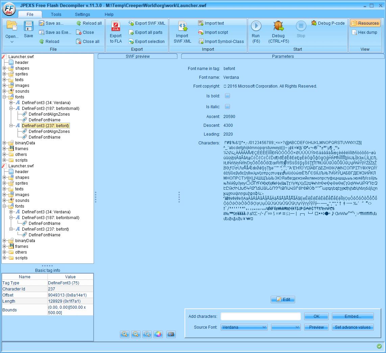 PC ゲーム Creeper World: Anniversary Edition 日本語化と JPEXS Free Flash Decompiler を使ったファイル解析メモ、デコンパイラ JPEXS Free Flash Decompiler(FFDec) を使った Creeper World: Anniversary Edition 日本語化方法、英語版 Creeper World: Anniversary Edition 日本語フォント追加方法、FFDec で英語版 Launcher.swf を開き、フォルダツリー fonts フォルダにある DefineFont3 (237: befont) の Characters に日本語フォントを追加
