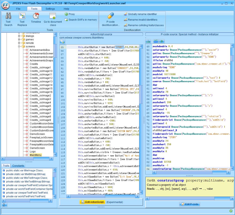 PC ゲーム Creeper World: Anniversary Edition 日本語化と JPEXS Free Flash Decompiler を使ったファイル解析メモ、デコンパイラ JPEXS Free Flash Decompiler(FFDec) を使った Creeper World: Anniversary Edition 日本語化方法、英語版 Creeper World: Anniversary Edition 翻訳編集方法、scripts にある MainMenu スクリプトを開き Edit ActionScript (Experimental) ボタンをクリックして編集、日本語に書き換え