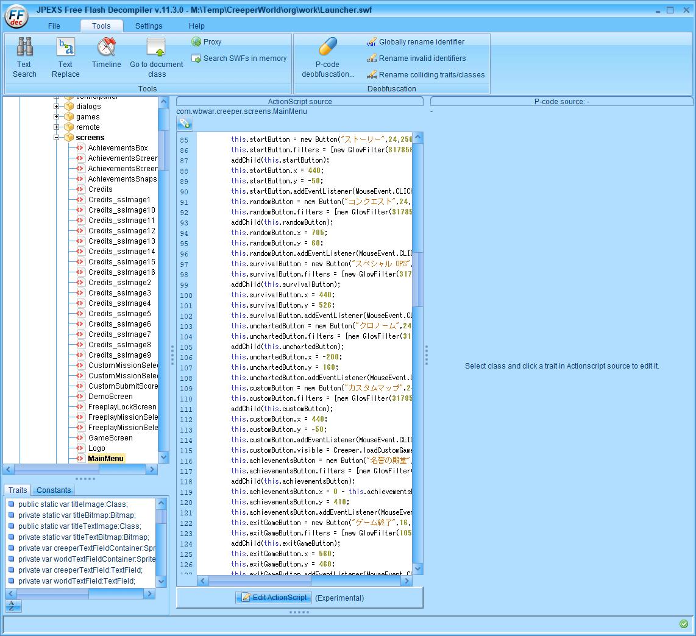 PC ゲーム Creeper World: Anniversary Edition 日本語化と JPEXS Free Flash Decompiler を使ったファイル解析メモ、デコンパイラ JPEXS Free Flash Decompiler(FFDec) を使った Creeper World: Anniversary Edition 日本語化方法、英語版 Creeper World: Anniversary Edition 翻訳編集方法、scripts にある MainMenu スクリプト日本語に編集後、File タブから Save ボタンで保存