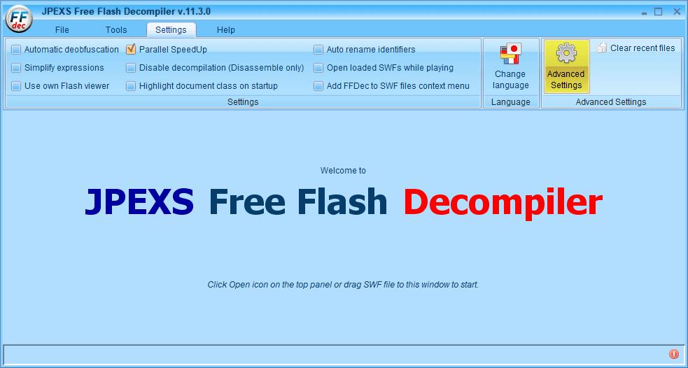 PC ゲーム Creeper World: Anniversary Edition 日本語化と JPEXS Free Flash Decompiler を使ったファイル解析メモ、デコンパイラ JPEXS Free Flash Decompiler(FFDec) 基本機能・初期設定・使い方、スクリプトの編集とインポート機能を使うのに必要な PlayerGlobal(.swc) 設定方法、PlayerGlobal (.swc) path 設定のため FFDec の Settings タブにある Advanced Settings ボタンをクリック