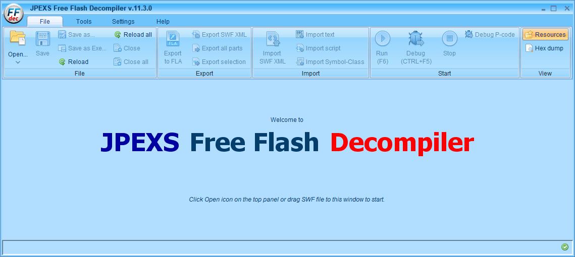 PC ゲーム Creeper World: Anniversary Edition 日本語化と JPEXS Free Flash Decompiler を使ったファイル解析メモ、デコンパイラ JPEXS Free Flash Decompiler(FFDec) 基本機能・初期設定・使い方、JPEXS Free Flash Decompiler(FFDec) 画面