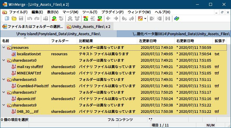 過去に公開された PC ゲーム Pony Island の日本語化ファイルを何とかして再現する方法、PC ゲーム Pony Island 日本語化情報、PonyIsland日本語化ベータ版0814.zip と Steam 版 Pony Island に含まれている resources.assets、sharedassets0.assets、sharedassets5.assets、sharedassets7.assets、sharedassets9.assets を UnityEX.exe でエクスポートして WinMerge で比較した結果、相違があるファイルは localization.txt(翻訳ファイル)とフォントファイル(ttf)