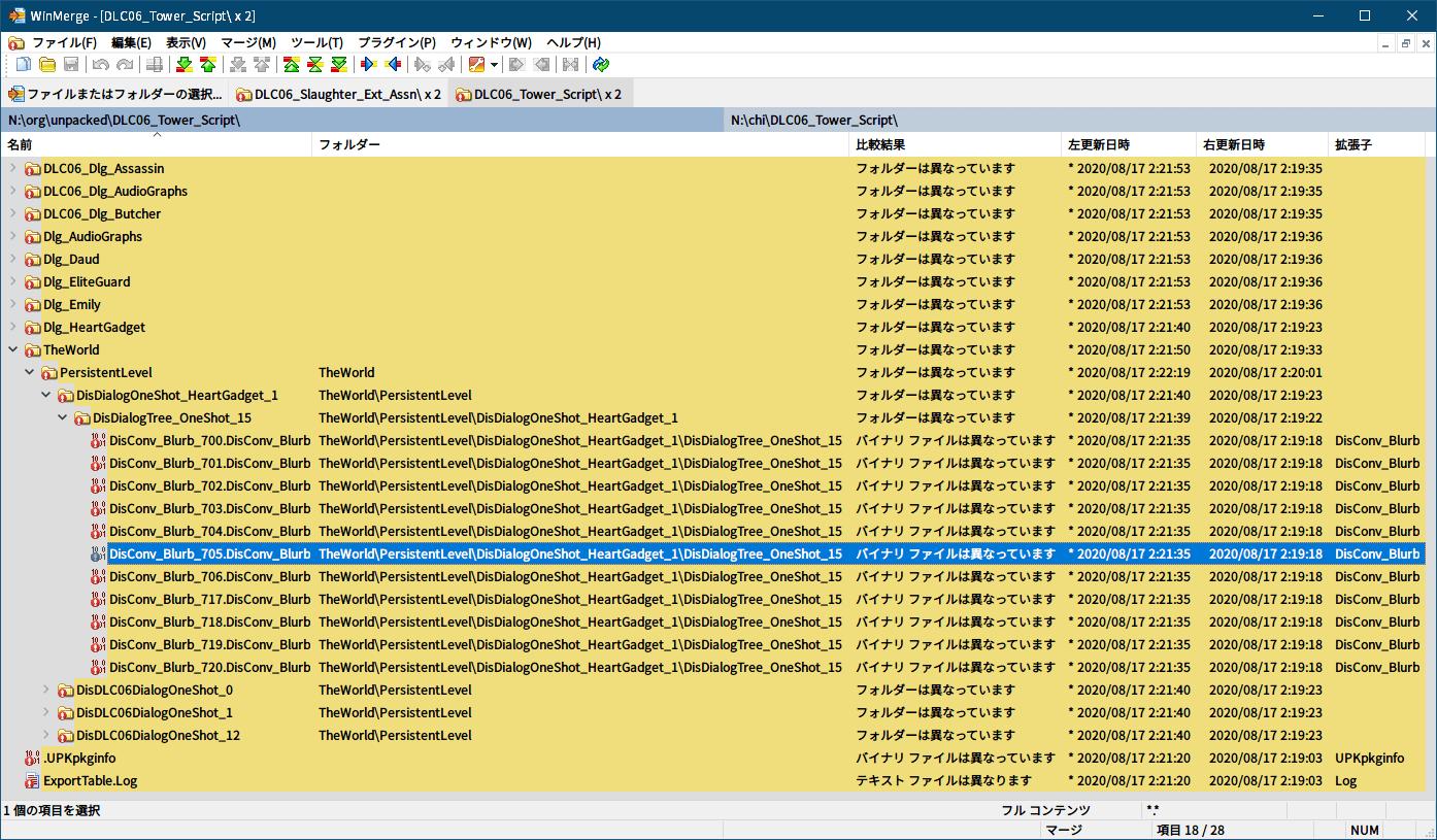 PC ゲーム Dishonored DLC - The Knife of Dunwall(ナイフ・オブ・ダンウォール)の字幕を日本語で表示する方法、PC ゲーム Dishonored DLC - upk 中文化ファイル、セリフ字幕バイナリデータ調査方法と計算方法、アンパックした英語版と中文化 DLC06_Tower_Script フォルダ WinMerge 比較結果、DLC06_Tower_Script\TheWorld\PersistentLevel\DisDialogOneShot_HeartGadget_1\DisDialogTree_OneShot_15 フォルダにある DisConv_Blurb_705.DisConv_Blurb ファイル