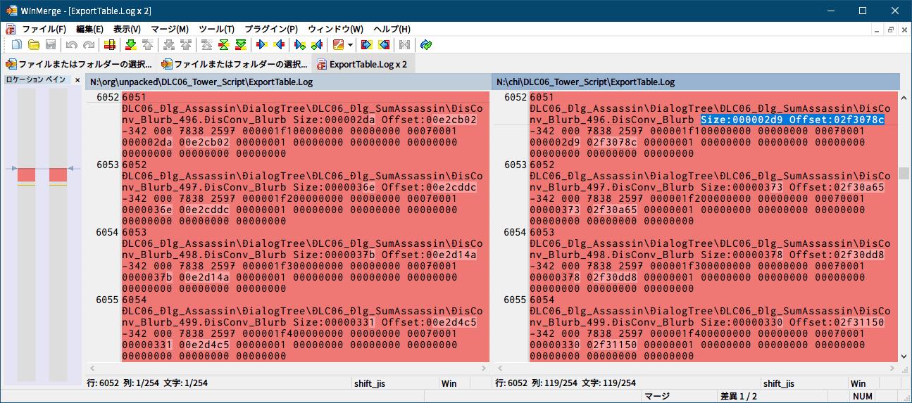 PC ゲーム Dishonored DLC - The Knife of Dunwall(ナイフ・オブ・ダンウォール)の字幕を日本語で表示する方法、PC ゲーム Dishonored - upk 中文化ファイル解析メモ、アンパックした DLC06_Tower_Script.upk ファイルの ExportTable.Log ファイル WinMerge 比較結果、アンパックした中文化 DLC06_Tower_Script.upk ファイルの DLC06_Tower_Script\DLC06_Dlg_Assassin\DialogTree\DLC06_Dlg_SumAssassin フォルダにある DisConv_Blurb_496.DisConv_Blurb ファイル、6052行目 Size:000002d9 Offset:02f3078c、Offset の 0x02F3078C アドレスの求め方は、英語版 DLC06_Tower_Script.upk ファイルバイナリデータ終端アドレスの次のアドレス、中文化 DLC06_Tower_Script.upk ファイルで追加された DisConv_Blurb_496.DisConv_Blurb ファイルのバイナリデータ開始アドレス