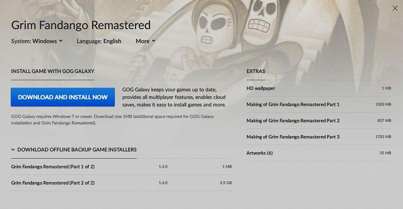 PC ゲーム Grim Fandango Remastered 日本語化メモ、PC ゲーム Grim Fandango Remastered 日本語化手順、GOG 版 Costume Quest ひらがな化のみ可能