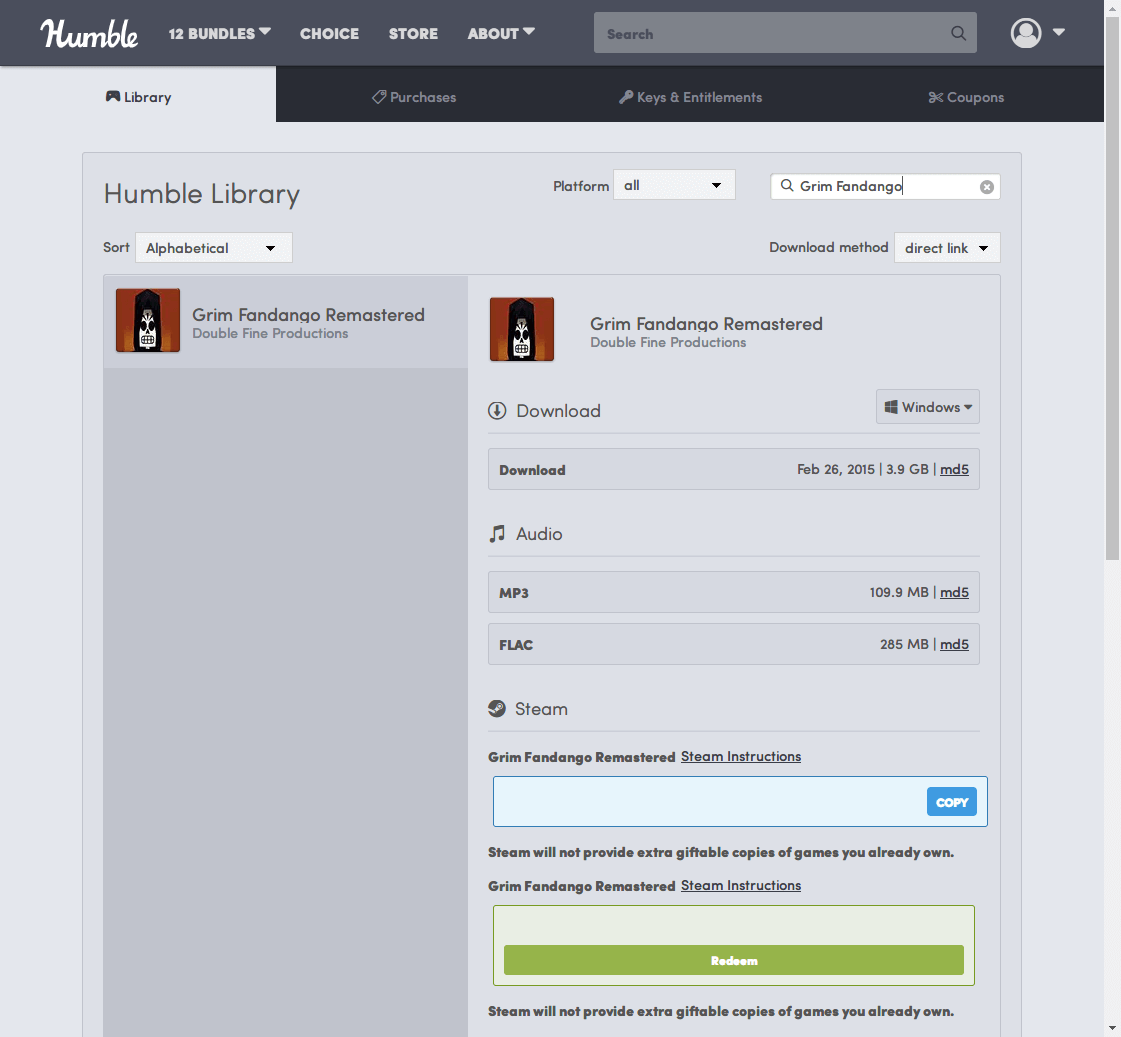 PC ゲーム Grim Fandango Remastered 日本語化メモ、PC ゲーム Grim Fandango Remastered 日本語化手順、Humble DRM-Free 版 Costume Quest ひらがな化のみ可能
