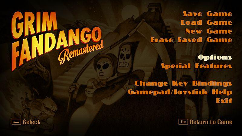 PC ゲーム Grim Fandango Remastered 日本語化メモ、PC ゲーム Grim Fandango Remastered 日本語化手順、Grim Fandango Remastered ひらがな化手順(Steam・GOG・Humble DRM-Free 共通)、ひらがな化ファイル配置後、Grim Fandango Remastered を起動して Esc キーを押して Options をクリック