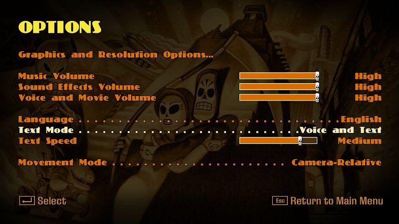 PC ゲーム Grim Fandango Remastered 日本語化メモ、PC ゲーム Grim Fandango Remastered 日本語化手順、Grim Fandango Remastered ひらがな化手順(Steam・GOG・Humble DRM-Free 共通)、ひらがな化ファイル配置後、Grim Fandango Remastered を起動して Esc キーを押して Options をクリック、Text Mode を Voice Only から Voice and Text に変更