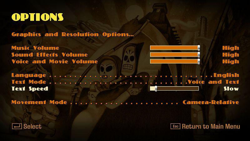 PC ゲーム Grim Fandango Remastered 日本語化メモ、PC ゲーム Grim Fandango Remastered 日本語化手順、Grim Fandango Remastered ひらがな化手順(Steam・GOG・Humble DRM-Free 共通)、ひらがな化ファイル配置後、Grim Fandango Remastered を起動して Esc キーを押して Options をクリック、Text Speed のバーを一番左端に寄せて Slow に変更