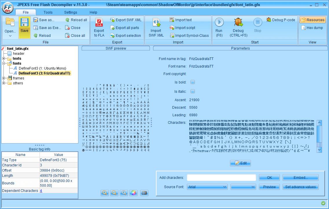 PC ゲーム Middle-earth: Shadow of Mordor GOTY 日本語化とフォント変更方法と DLC The Bright Lord(明王)で日本語を表示する方法、PC ゲーム Middle-earth: Shadow of Mordor GOTY 日本語フォント変更方法、FFDec(JPEXS Free Flash Decompiler) を使ってしねきゃぷしょんフォントに変更、FFDec(JPEXS Free Flash Decompiler)で font_latin.embb をバイナリエディタでファイル先頭 84バイト削除して拡張子を変更した font_latin.gfx を開く、fonts フォルダにある DefineFont3 (3: FrizQuadrataTT) をクリック、Parameters にある Characters に日本語があることを確認して Embed ボタンをクリック、TTF file からしねきゃぷしょん(cinecaption2.28.ttf)を選択、すべての日本語を表示したい場合 Japanese Kana、Japanese Kanji - Level 1、Japanese (All) にチェックマークを入れて OK ボタンをクリック、Save ボタンをクリックして保存