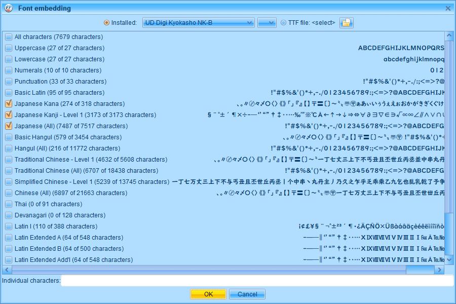 PC ゲーム Middle-earth: Shadow of Mordor GOTY 日本語化とフォント変更方法と DLC The Bright Lord(明王)で日本語を表示する方法、PC ゲーム Middle-earth: Shadow of Mordor GOTY 日本語フォント変更方法、FFDec(JPEXS Free Flash Decompiler) を使って UD デジタル教科書体 NK-B フォントに変更、Windows 10 標準搭載フォント UD Digi Kyokasho(UD デジタル教科書体) NK-B を選択、すべての日本語を表示したい場合 Japanese Kana、Japanese Kanji - Level 1、Japanese (All) にチェックマークを入れて OK ボタンをクリック
