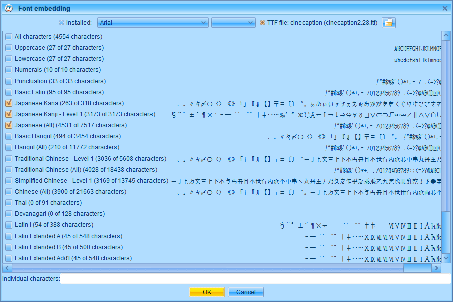PC ゲーム Middle-earth: Shadow of Mordor GOTY 日本語化とフォント変更方法と DLC The Bright Lord(明王)で日本語を表示する方法、PC ゲーム Middle-earth: Shadow of Mordor GOTY 日本語フォント変更方法、FFDec(JPEXS Free Flash Decompiler) を使ってしねきゃぷしょんフォントに変更、FFDec(JPEXS Free Flash Decompiler)で font_latin.embb をバイナリエディタでファイル先頭 84バイト削除して拡張子を変更した font_latin.gfx を開く、fonts フォルダにある DefineFont3 (3: FrizQuadrataTT) をクリック、Parameters にある Characters に日本語があることを確認して Embed ボタンをクリック、TTF file からしねきゃぷしょん(cinecaption2.28.ttf)を選択、すべての日本語を表示したい場合 Japanese Kana、Japanese Kanji - Level 1、Japanese (All) にチェックマークを入れて OK ボタンをクリック