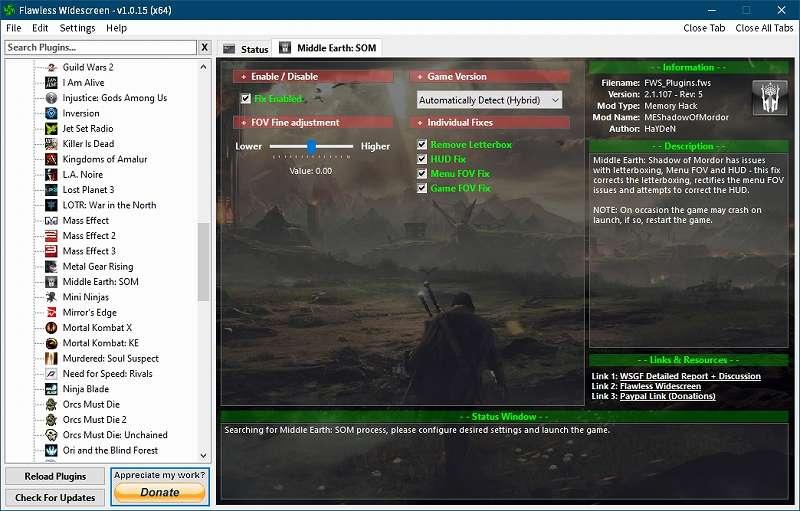 PC ゲーム Middle-earth: Shadow of Mordor GOTY 日本語化とフォント変更方法と DLC The Bright Lord(明王)で日本語を表示する方法、PC ゲーム Middle-earth: Shadow of Mordor GOTY ゲームプレイ最適化情報、FOV 変更方法、Flawless Widescreen - FWS Plugins - Middle Earth: SOM - FOV Fine adjustment Value: 0.00(デフォルト値)